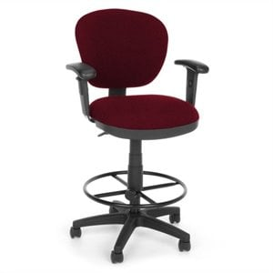 Lite Use Computer Drafting Office Chair with Arms and Drafting Kit in Burgundy