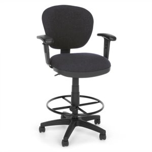 Lite Use Computer Drafting Office Chair with Arms and Drafting Kit in Gray