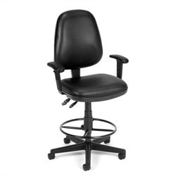 OFM Straton Computer Task Drafting Office Chair with Arms and Drafting Kit in Black
