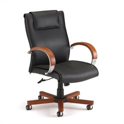 OFM Apex Mid-Back Executive Leather Office Chair in Cherry