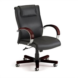 OFM Apex Mid Back Executive Leather Office Chair in Mahogany