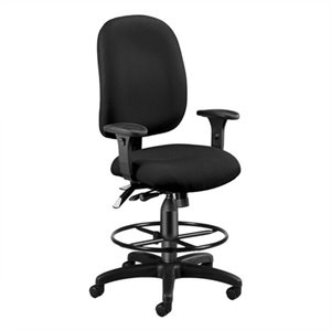 Ergonomic Task Drafting Office Chair with Drafting Kit in Black