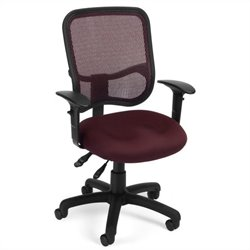 OFM Mesh Comfort Series Ergonomic Task Chair with Arms in Wine