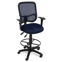 OFM Comfort Series Ergonomic Task Chair with Arms Draft Kit in Navy