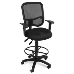 OFM Comfort Series Ergonomic Task Chair with Arms Draft Kit in Black