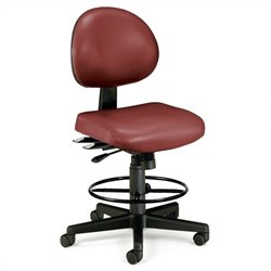 24 Hour Task Drafting Office Chair with Drafting Kit in Wine