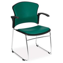 OFM Multi-Use Vinyl Seat and Back Stacker with Arms in Teal