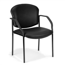OFM Manor Series Anti-Bacterial Reception Chair with Arms in Black