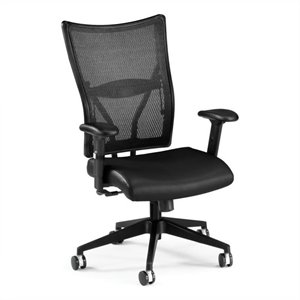 Executive Mid-Back Leather Mesh Office Chair in Black