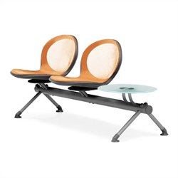 Beam Guest Chair With 2 Seats And Table in Orange