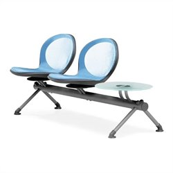 Beam Guest Chair With 2 Seats And Table in Sky Blue