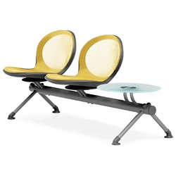 Beam Guest Chair With 2 Seats And Table in Yellow