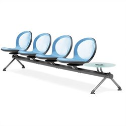Beam Guest Chair With 4 Seats And Table in Sky Blue