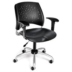 OFM Star Swivel Plastic Office Chair with Arms in Black