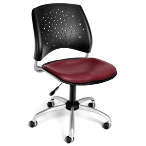 Swivel Office Chair with Vinyl Seats in Wine