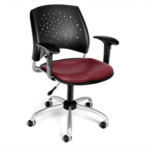 Swivel Office Chair with Vinyl Seats and Arms in Wine