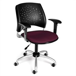 OFM Star Swivel Chair with Arms in Burgundy