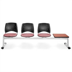 Beam Seating with 3 Seats and Table in Coral Pink and Cherry
