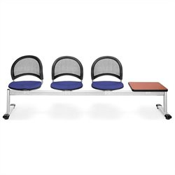 Beam Seating with 3 Seats and Table in Royal Blue and Cherry