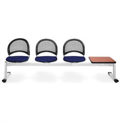 Beam Seating with 3 Seats and Table in Navy and Cherry