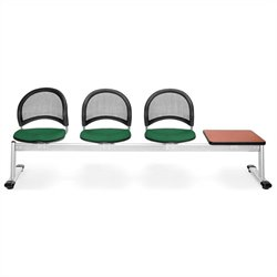 Beam Seating with 3 Seats and Table in Forest Green and Cherry