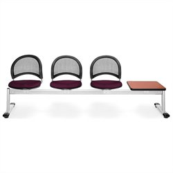 Beam Seating with 3 Seats and Table in Burgundy and Cherry