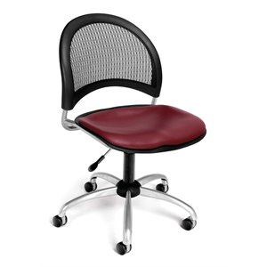 Swivel Vinyl Office Chair in Wine