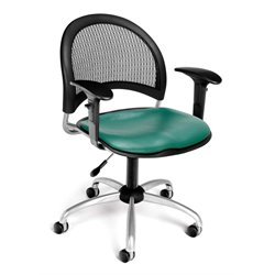 OFM Moon Swivel Vinyl Chair with Arms in Teal