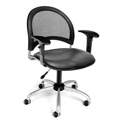 OFM Moon Swivel Vinyl Office Chair with Arms in Charcoal