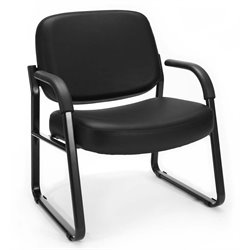 OFM Big and Tall Reception Vinyl Chair with Arms in Black