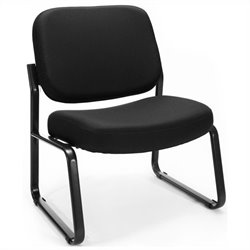 OFM Big and Tall Reception Armless Chair in Black