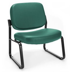 OFM Big and Tall Reception Vinyl Armless Chair in Teal