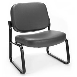 Reception Vinyl Armless Guest Chair in Charcoal
