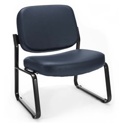 OFM Big and Tall Reception Vinyl Armless Chair in Navy