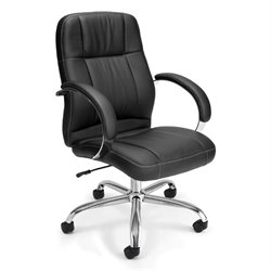 OFM Stimulus Series Leatherette Executive Mid Back Chair in Black