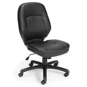 OFM Stimulus Ergonomic Leather Swivel Office Chair in Black