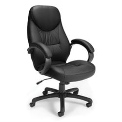 OFM Stimulus Series Leatherette Executive High Back Chair in Black