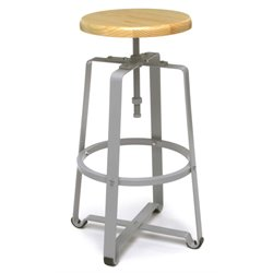 OFM Tall Metal Stool with Maple Seat