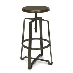 OFM Adjustable Tall Metal Stool with Walnut Seat