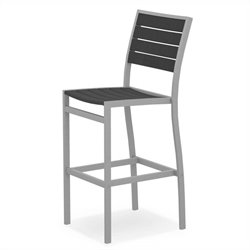 Polywood Euro Bar Side Chair in Textured Silver and Slate Grey