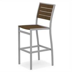 Polywood Euro Bar Side Chair in Textured Silver and Teak