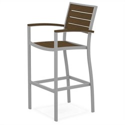 Polywood Euro Bar Arm Chair in Textured Silver and Teak