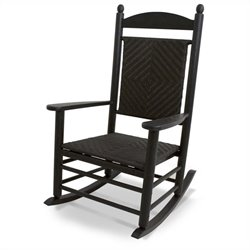 Polywood Jefferson Woven Rocker in Black and Cahaba