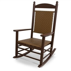 Polywood Jefferson Woven Rocker in Mahogany and Tigerwood