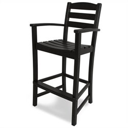 Polywood La Casa Cafe Outdoor Bar Arm Chair in Black