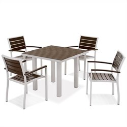 Polywood Euro 5 Piece Wood Patio Dining Set in Mahogany