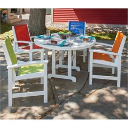 Polywood Coastal 5 Piece Wood Patio Dining Set in White