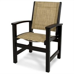 Polywood Coastal Dining Chair in Black and Burlap