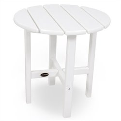 Polywood Round 18 inch Side Table in White