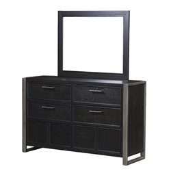 Samuel Lawrence Graphite 6 Drawer Dresser with Mirror in Brown